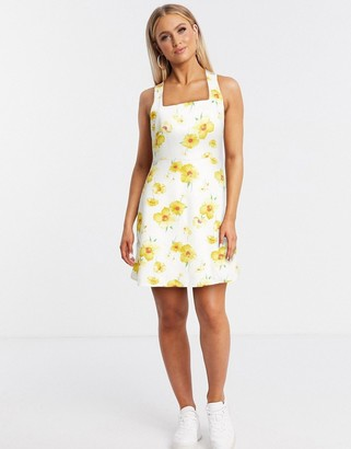 Gilli mini dress with tie back detail in yellow floral