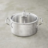 Ruffoni Omegna Hammered Stainless-Steel Stock Pot, 6-Qt.