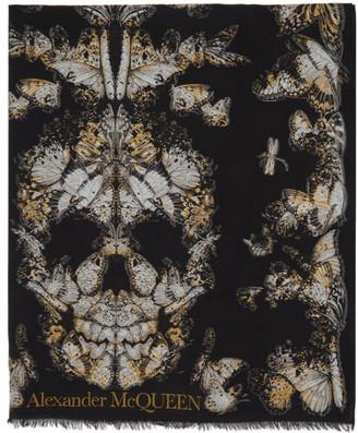 Alexander McQueen Black Butterfly Skull Scarf