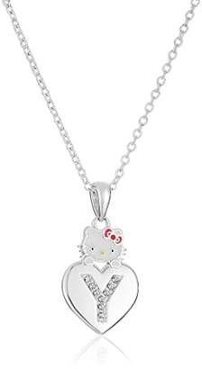 """Hello Kitty Girls' Crystal and Enamel """"F"""" Initial Pendant Necklace"""