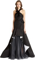Oscar de la Renta Silk Radzimir Evening Top and Skirt with Tulle Detail