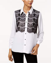NY Collection Petite Lace-Contrast Shirt