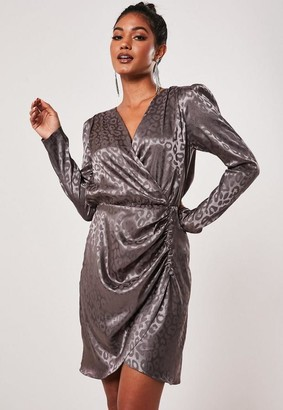 Missguided Purple Animal Print Satin Wrap Dress