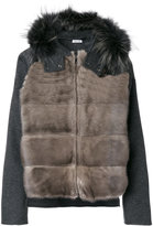 P.A.R.O.S.H. zipped jacket - women - Cotton/Mink Fur/Polyester/Wool - S
