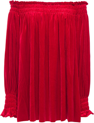 Norma Kamali Peasant Off-the-shoulder Velvet Top
