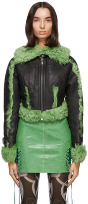 Charlotte Knowles SSENSE Exclusive Black and Green Shearling Joan Jacket