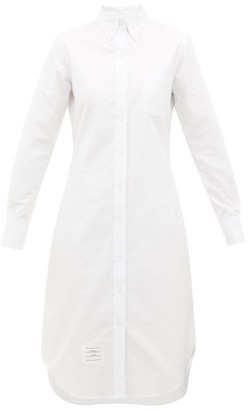 Thom Browne Buttoned Cotton-oxford Shirt Dress - Womens - White
