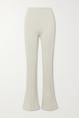 The Line By K Daisy Ribbed-knit Flared Pants - Beige
