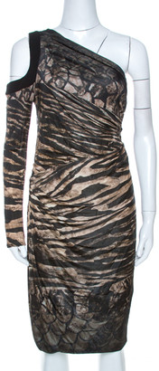 Roberto Cavalli Black Printed Knit Draped One Shoulder Dress M