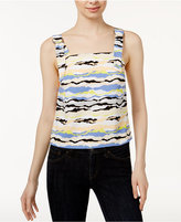 Kensie Horizon Lines Printed Buckle Top