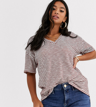 Asos DESIGN Petite t-shirt with short sleeve in textured stripe with v front