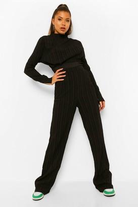 boohoo Textured High Waisted Wide Leg Trousers