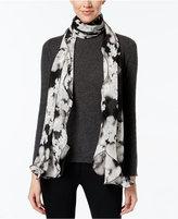 Calvin Klein Tonal Floral Oblong Ruffle Scarf