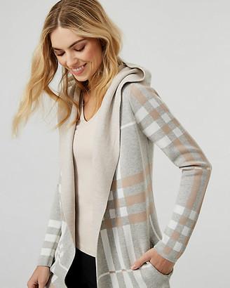 Le Château Check Print Cotton Blend Sweater Coat