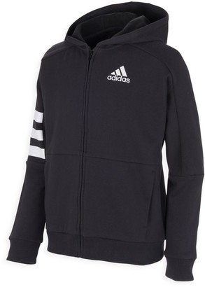 adidas Boy's Zip Front 3-Stripe Hooded Jacket