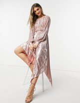 Thumbnail for your product : Forever U pleated metallic dress with cut out detail in rose gold