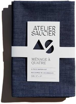 Atelier Saucier Dark Denim Linen Napkins Set Of 4