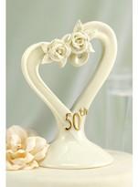 Hortense B. Hewitt 50th Anniversary Pearl Rose Heart Cake Topper