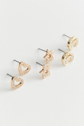 Urban Outfitters Rhinestone Icon Post Earring Set