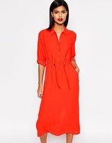 French Connection Cecil Drape Midi Shirt Dress