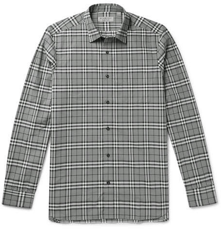 Burberry Checked Cotton-Poplin Shirt - Gray