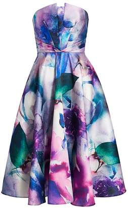 Marchesa Strapless Floral Printed Mikado Fit-&-Flare Dress
