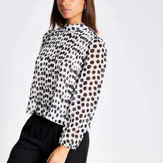 River Island Womens Black polka dot pleated sheer sleeve top