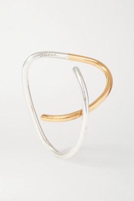 Saskia Diez + Net Sustain Cross Gold And Silver Ear Cuff