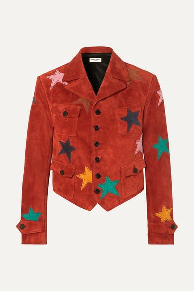 Saint Laurent Appliquéd Suede Jacket - Red