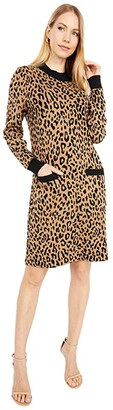J.Crew Mock Neck Sweaterdress in Leopard (Heather Acorn Black) Women's Clothing