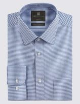 Marks and Spencer 2in Longer Cotton Rich Shadow Checked Shirt