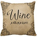 "Bnfe3f Burlap Wine A Hug In A Glass R6b3c04e848114fc3913f2e9d3cf011b6 I5fqz 8byvr Pillow Case 18"" * 18"""