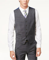 Ben Sherman Men's Slim-Fi Gray Windowpane Plaid Suit Vest