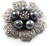 Avalaya 6-Petal Imitation Pearl Floral Brooch (Silver&Dark Grey) - 45mm D