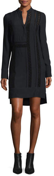 Akris Punto Lace-Trim V-Neck Dress
