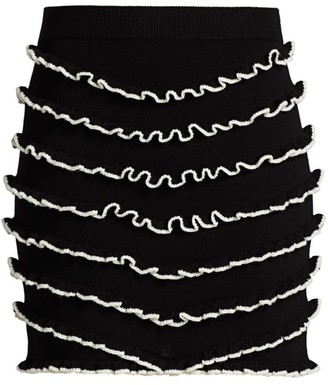 Victor Glemaud Lettuce Edge Chevron Merino Wool Skirt