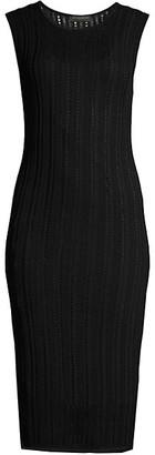 Donna Karan Sleeveless Loose-Weave Knit Dress