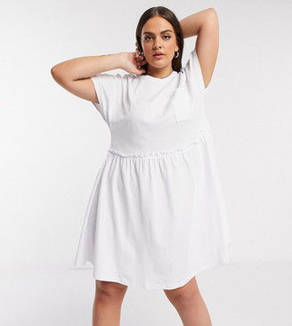 Noisy May Curve mini t-shirt dress with pocket detail in white