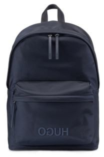 HUGO BOSS Reverse Logo Backpack In Structured Nylon With Top Handle - Dark Blue