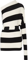Norma Kamali All In One Striped Stretch-jersey Mini Dress - Black
