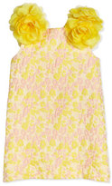 Charabia Sleeveless Floral Jacquard Shift Dress, Yellow/Pink, Size 4-10