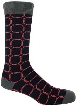 Peper Harow Made In England Black Linked Men's Socks