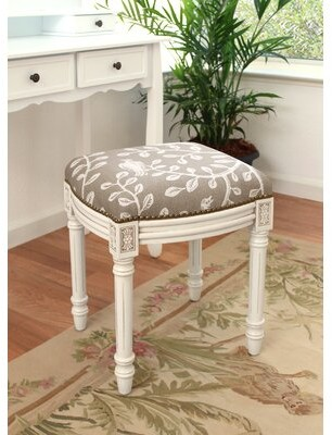 Charlton Homeâ® Horst Birds and Vines Linen Upholstered Vanity Stool Charlton HomeA Color: Taupe