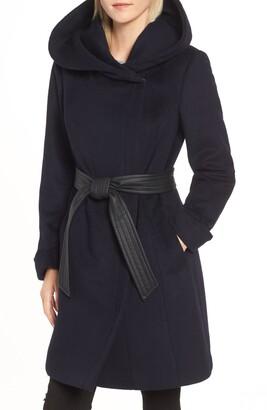 Cole Haan Hoodied Tie Waist Wool Blend Coat