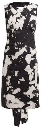 No.21 No. 21 - Tie Dye Open Back Cotton Blend Dress - Womens - Black Print