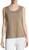 Misook Scoop-Neck Tank, Light Brown