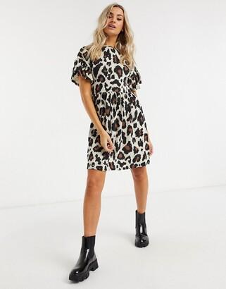 New Look frill sleeve mini dress in brown animal print
