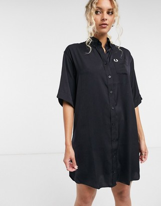 Fred Perry oversized shirt dress in navy