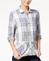 Kensie Plaid Peplum Shirt