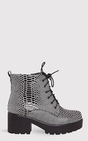 PrettyLittleThing Mahina Monochrome Patent Snake Effect Ankle Boots
